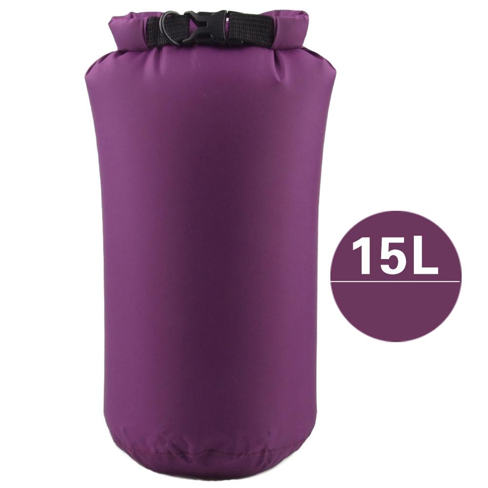Outdoor Bag Camouflage Portable Rafting Diving Dry Bag Sack PVC Waterproof Folding Swimming Storage Bag for River Trekking Purple (15L)_15L
