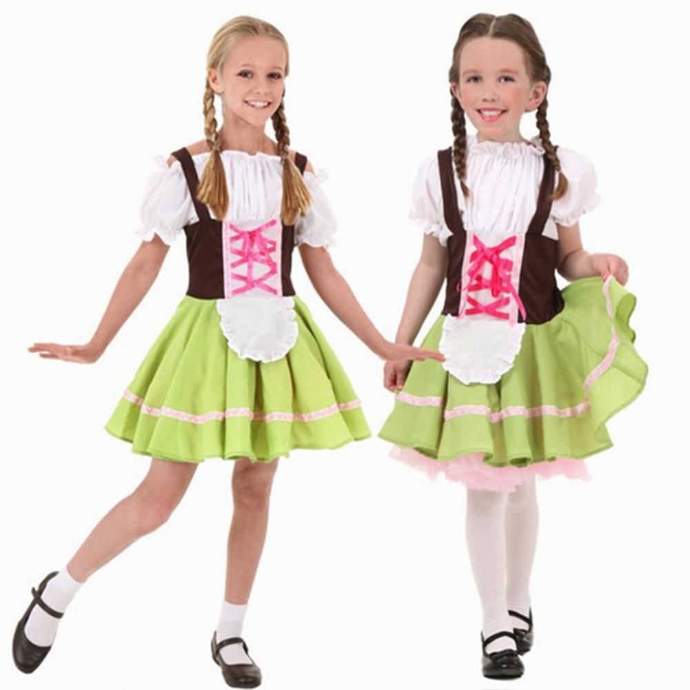 Children Girl Boy Fashion Oktoberfest Waiter Waitress Cosplay Costume Beer Festival Suit Green beer girl_L