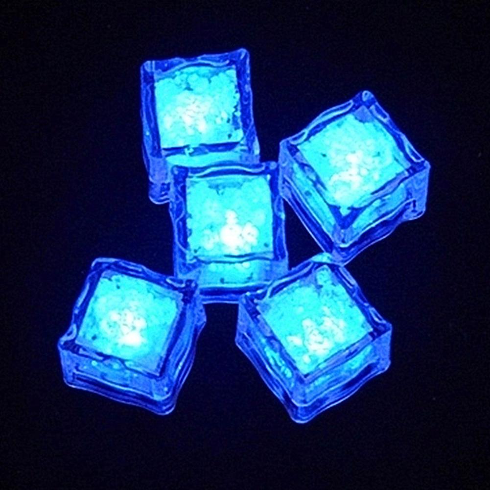 LED Ice Cubes Shape Glowing in Water Light Party Ball Luminous Flash Light Wedding Festival Bar Wine Glass Decoration 12PCS blue