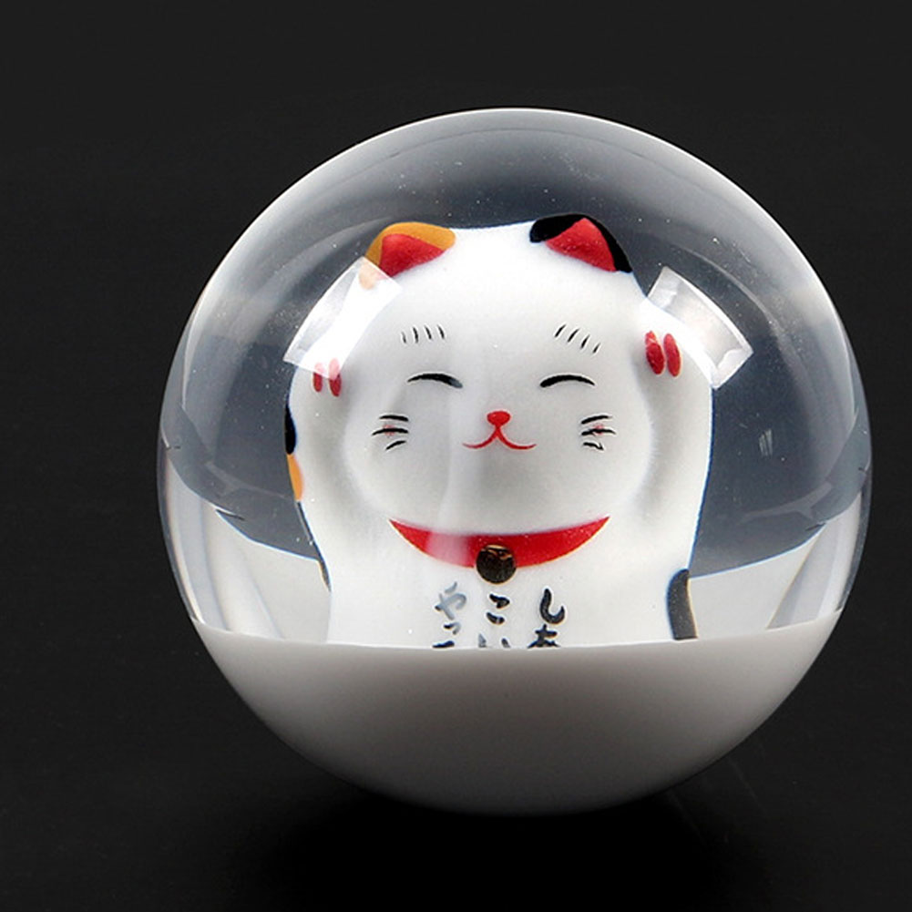 1 Set Acrylic Fortune Lucky Cat Round Gear Ball Shift Knob Adapter Translucent