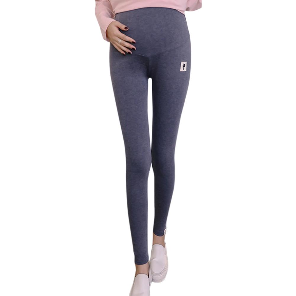Cute Kitten Pattern Abdomen Support Leggings Trousers for Pregnant Woman  Dark gray _L