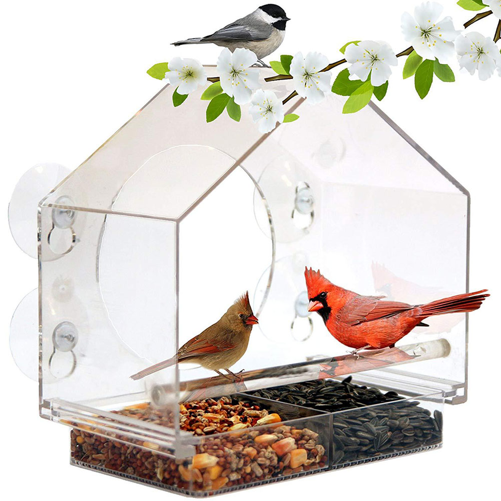 Acrylic Transparent Bird Feeder with Suckers Birds Cage for Tree Garden Decoration  Transparent