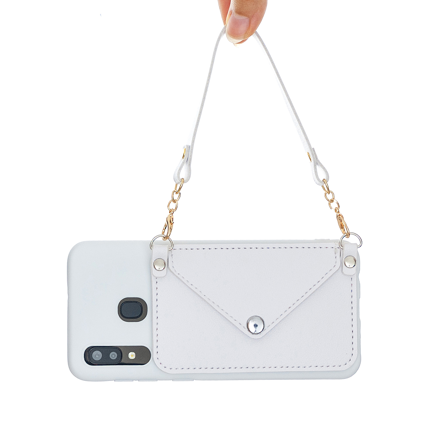 For HUAWEI Y5 2018/2019/Y6 2019/Y7 2019/PSMART Z/Y9 2019 Mobile Phone Cover with Pu Card Holder + Hand Rope + Straddle Rope white