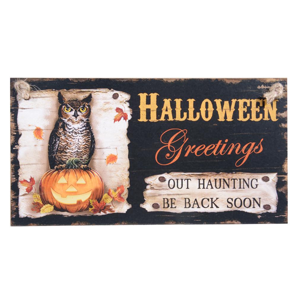 Owl Wall Doorplate Wooden Door Plaque Hanging Sign for Halloween Hotel Home Decoration