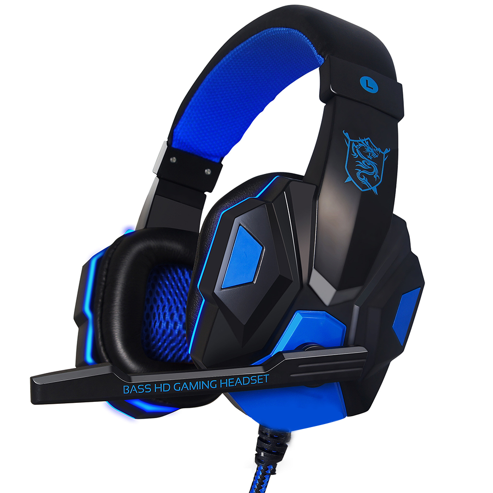 Wired Gaming Headset Headphone for PS4 Xbox One Nintend Switch iPad PC blue
