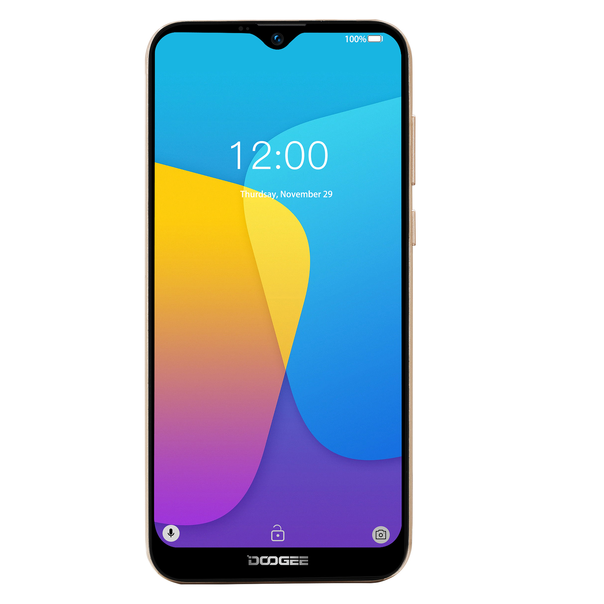 DOOGEE X90 Cellphone 6.1inch 19:9 Waterdrop LTPS Screen Smartphone Quad Core CPU 1GB RAM+16GB ROM 3400mAh Battery Dual SIM Cards 8MP+5MP Camera Android 8.1 OS  Gold_Russian version