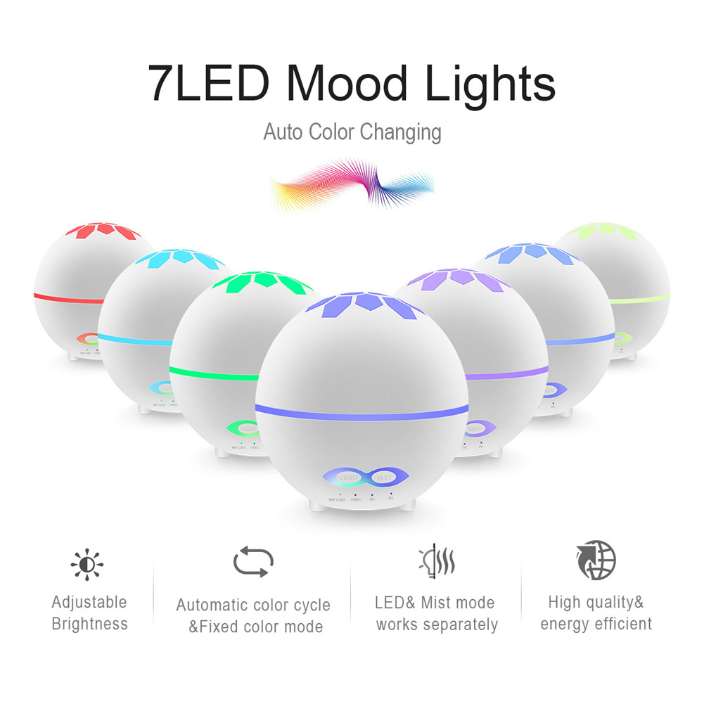 400ml Essential Oil Diffuser Remote Control Mist Humidifier with 7 Colors Change Light for Bedroom Home  Colorful_US regulations (used in American countries)