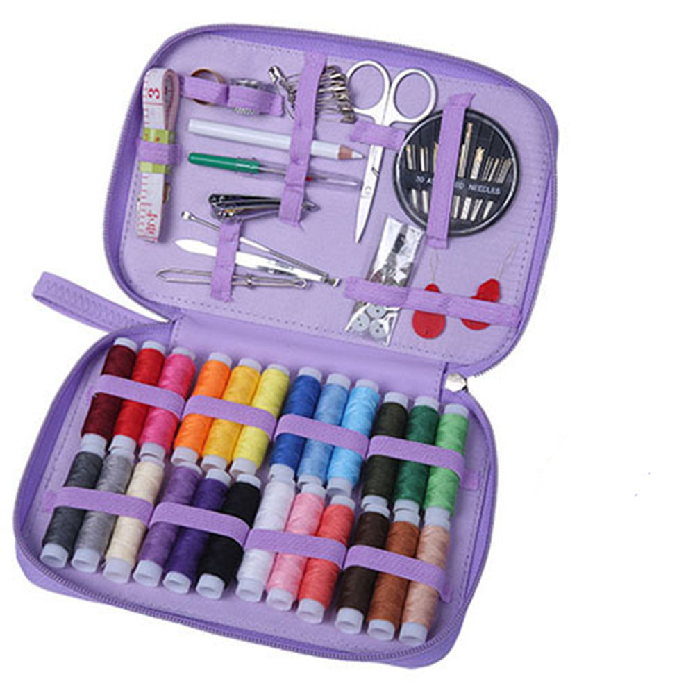 1 Set Leather Sewing  Kit 24-color Thread Portable Home Diy Sewing Tools Set Purple