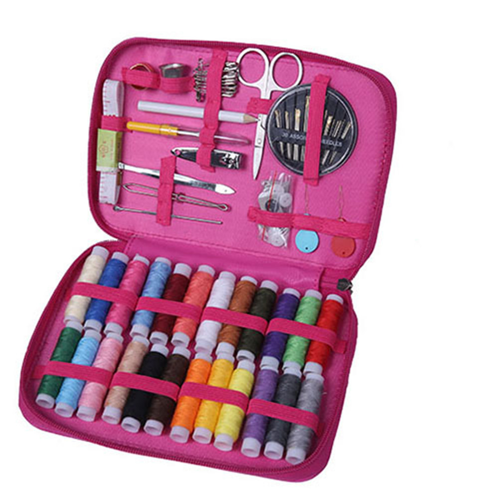 1 Set Leather Sewing  Kit 24-color Thread Portable Home Diy Sewing Tools Set Pink
