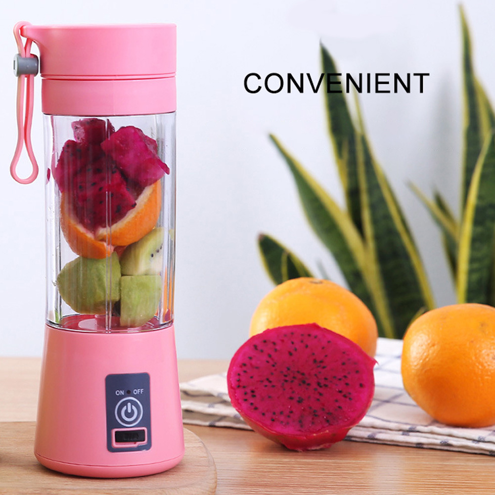 380ml Portable Juicer Electric Blender Machine Mixer Juice Maker for Fruit Vegetable Blue (English packaging)_Four-leaf plastic (1800 mAh)