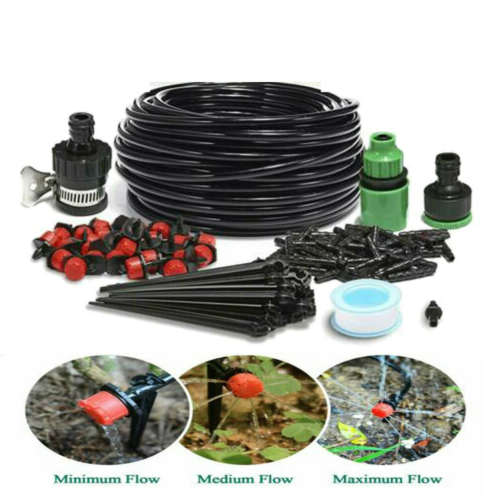 82ft Drip  Irrigation  System Plant Self Garden Diy Watering Hose Spray Kit 25 meters