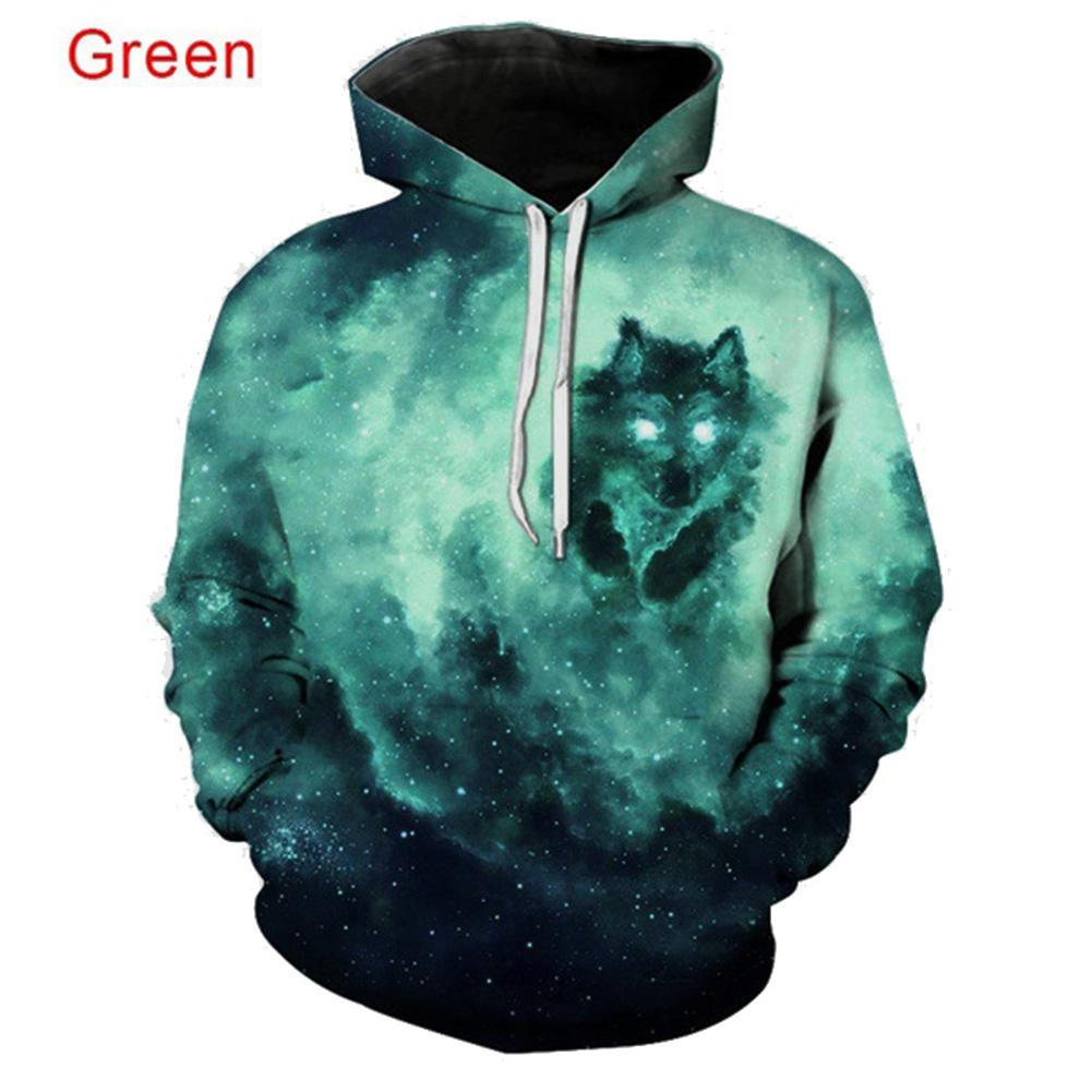 Men Women 3D Starry Green Wolf Printing Baseball Uniform Hooded Sweatshirts for Lovers Couples green_4XL