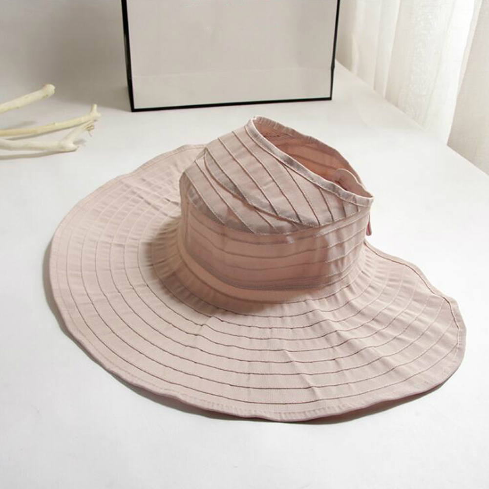 Women Solid Color Large Edge Breathable UV Protection Hats Light pink
