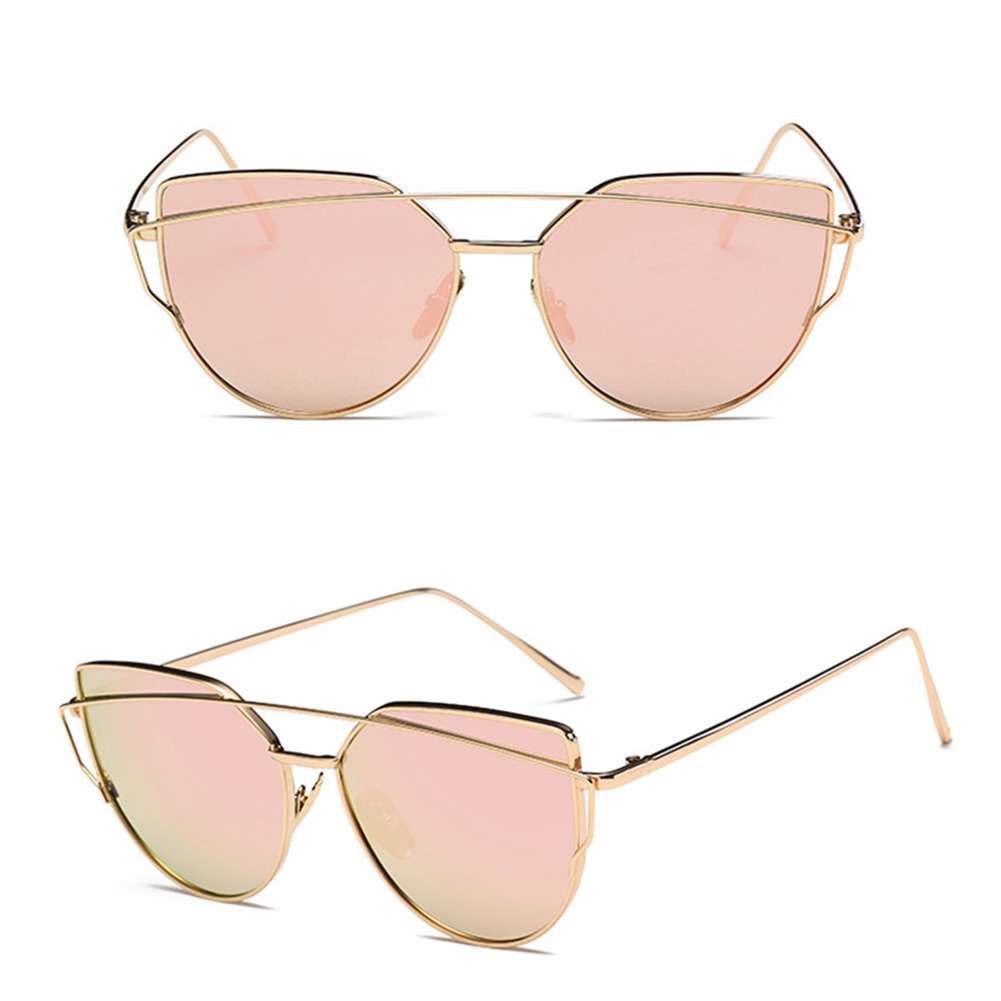 Cateye Goggle Sunglass Ladies Fashion Metal Frame Sunglasses Gold frame rose gold lens