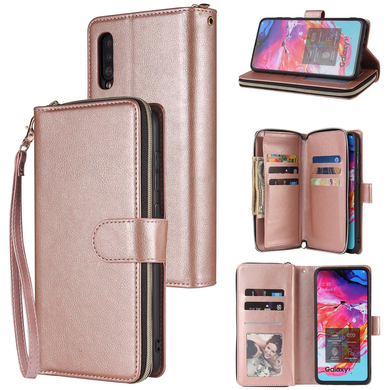For Samsung A10/A20/A30/A50/A30S/A50S Pu Leather  Mobile Phone Cover Zipper Card Bag + Wrist Strap Rose gold