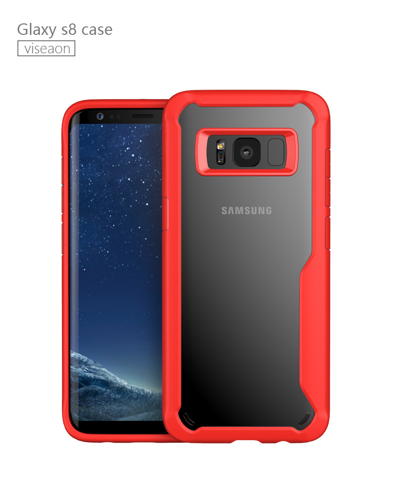 Soft TPU Edge Reinforcement Transparent Acrylic Backplane Cellphone Case Ultra-thin Full Coverage Shell for Samsung S8/S8 Plus