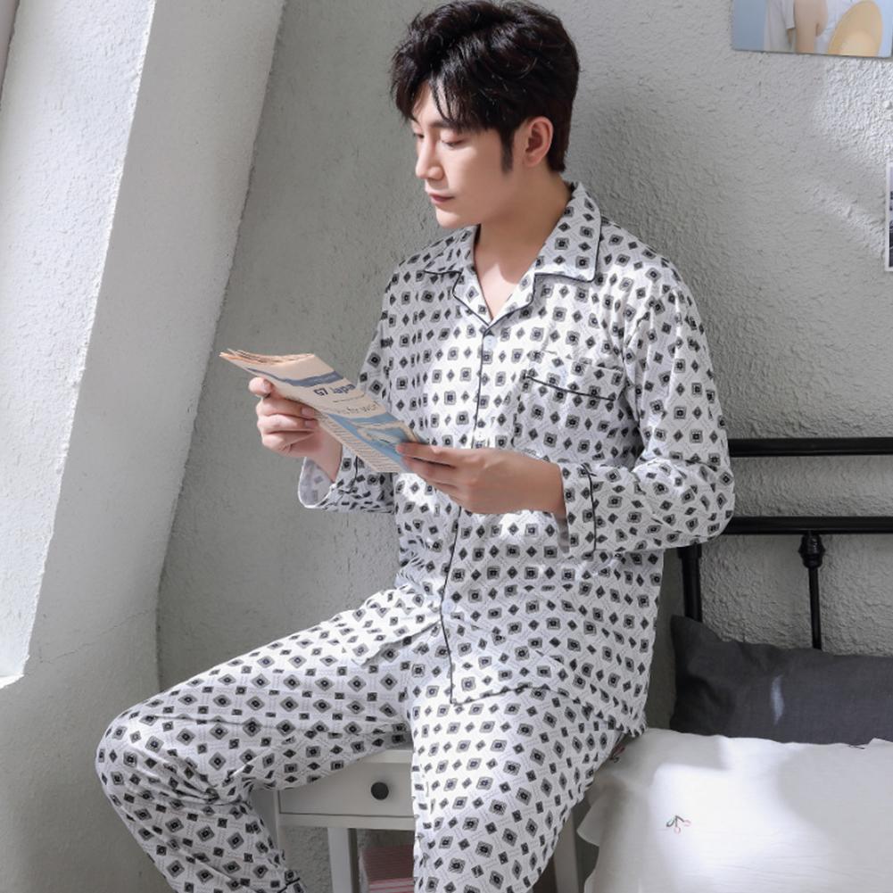 Men Winter Spring and Autumn Cotton Long Sleeve Casual Home Wear Pajamas Homewear 8807 blue_XXL