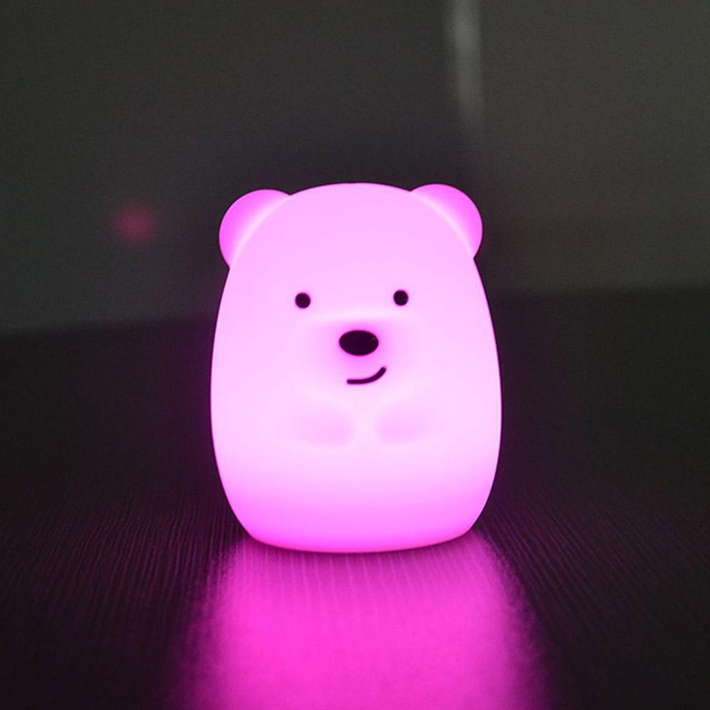 Cute Mini 7Colors Change+Warm White Silicone Night Light Bear: 59*62*71mm