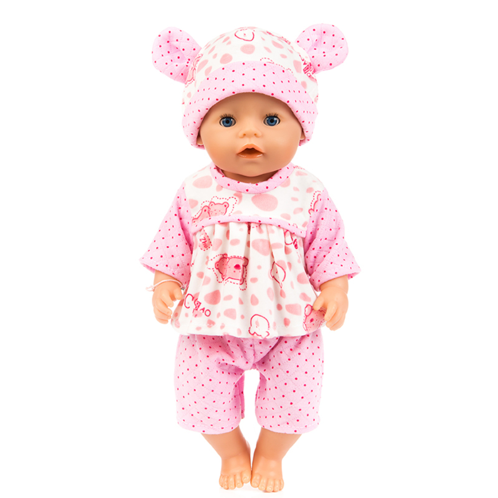 Simulate Cartoon Animal Design Clothes Plush Pajamas for 18 Inches Doll Accessories Gift pink bear