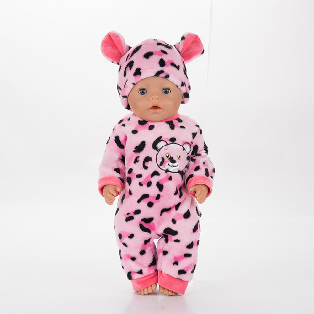 Cartoon Animal Shape Pajamas Doll Outfit Set Clothes for 18 Inches Doll Accessories Girl Gift Q-128 pink leopard