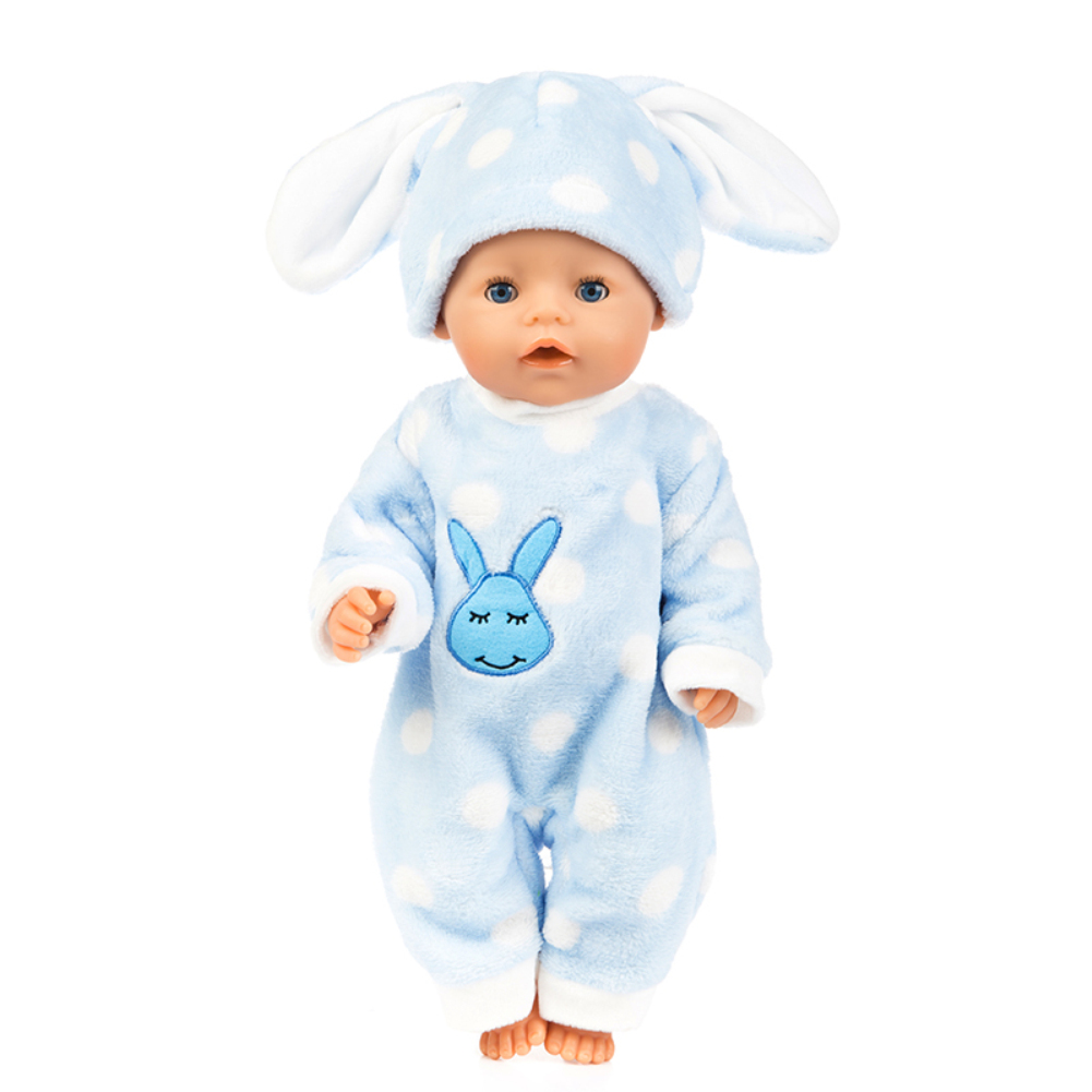 Simulate Cartoon Animal Design Clothes Plush Pajamas for 18 Inches Doll Accessories Gift Dot Blue Rabbit