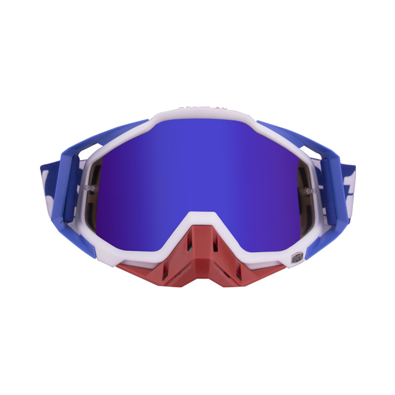 Motorcycle  Goggles Outdoor Off-road Goggles Riding Glasses Windproof Dustproof riding glasses Blue and white + red (blue film)
