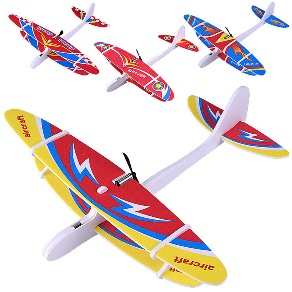 [Indonesia Direct] DIY Biplane Glider Foam Powered Flying Plane Rechargeable Electric Aircraft Model Science Educational Toys for Children Random Color Random Color