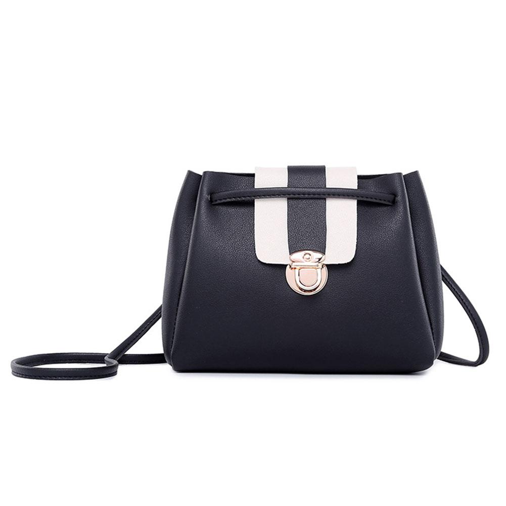 [Indonesia Direct] Woman Fashion Crossbody Bag Lock Buckle Drawstring Bucket Bag black