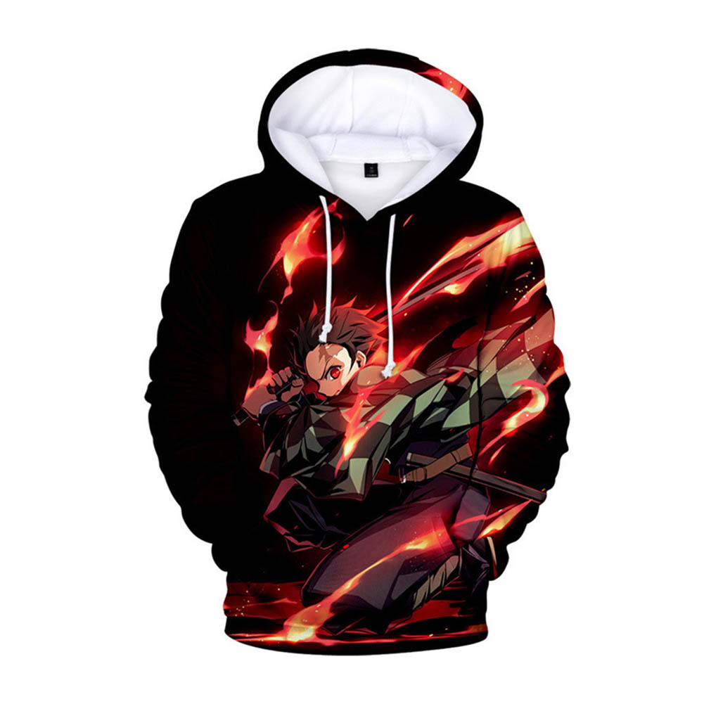 3D Digital Pattern Printed Demon Slayer Series Top Casual Hoodie Leisure Loose Pullover for Man Fire Blade Guard_XXL