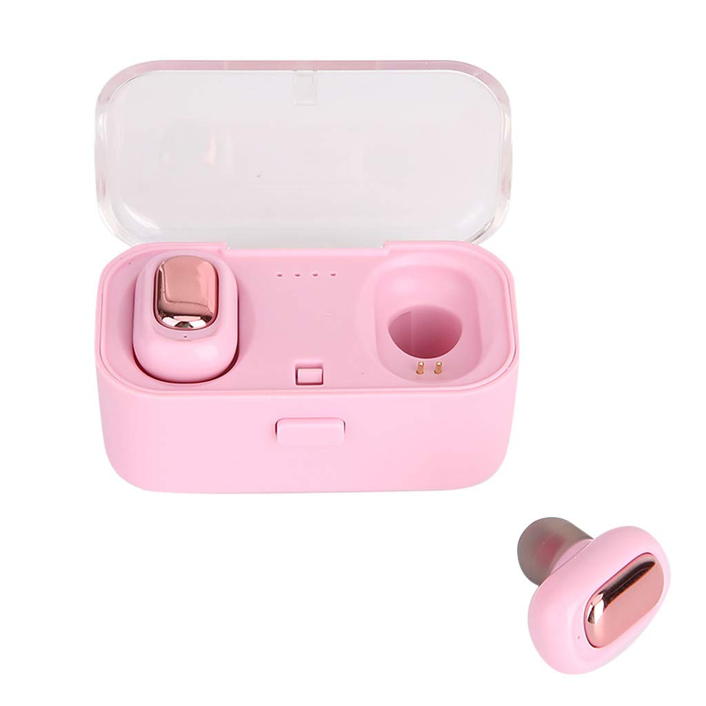 Mini Wireless Earphones Bluetooth Earphones 3D Stereo Sound Earbuds with Charging Box Pink