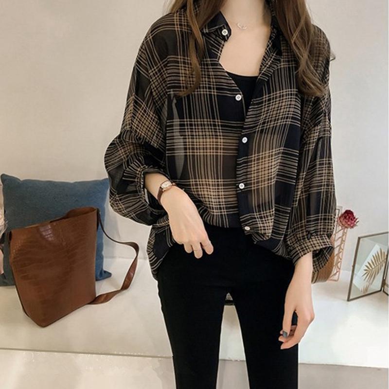 [Indonesia Direct] Women Loose Plaid Pattern Long Sleeve Blouse black_M