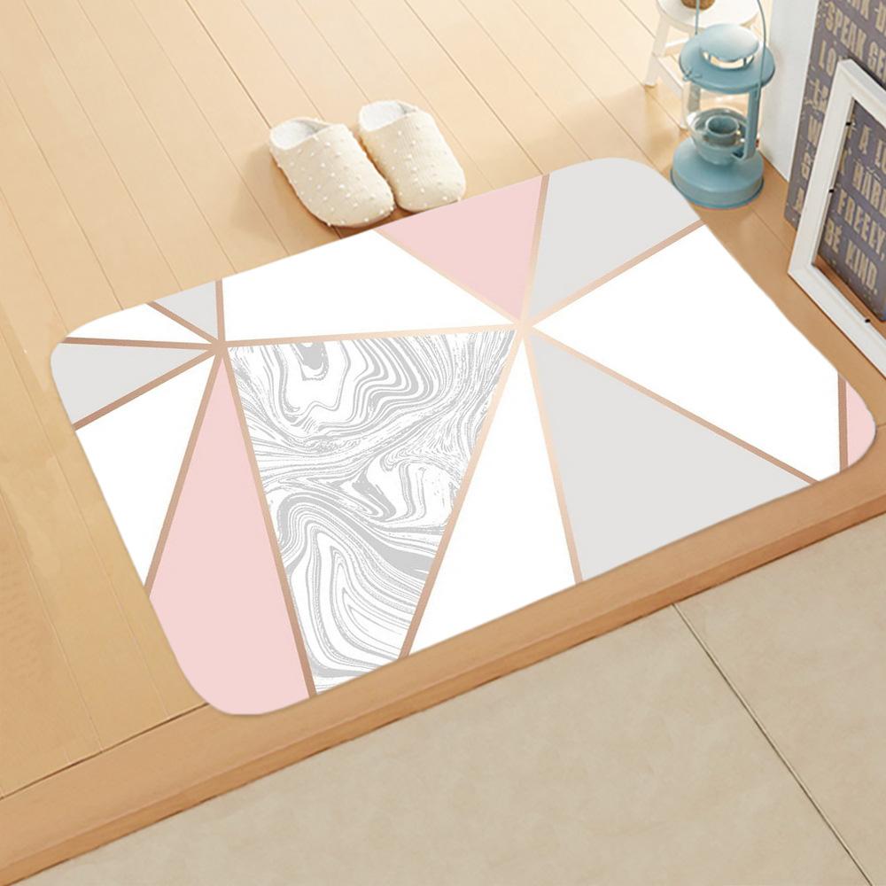 Marble Pattern Flannel Door Mat Floor Mat Rugs Non-slip Doormats for Outdoor Bathroom Kitchen Carpets 40*60cm