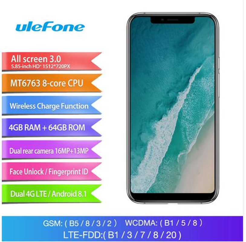 Ulefone X Android Phone - Octa-Core CPU, Android 8.1, 4GB RAM, Dual-IMEI,, 5.85-Inch FHD Display