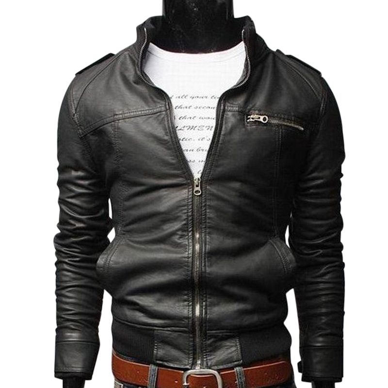 Men PU Leather Motorcycle Outwear Coat Top