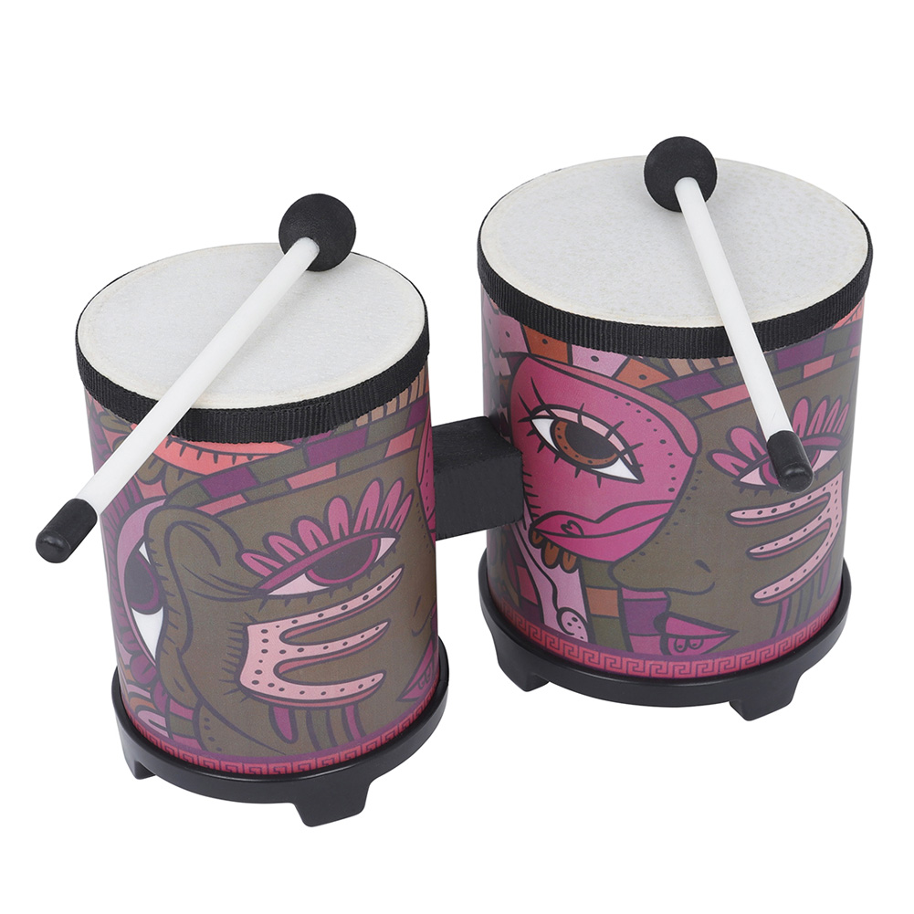 Indian Decal Bongo Drum With 2 Pcs Drumsticks Photo Color