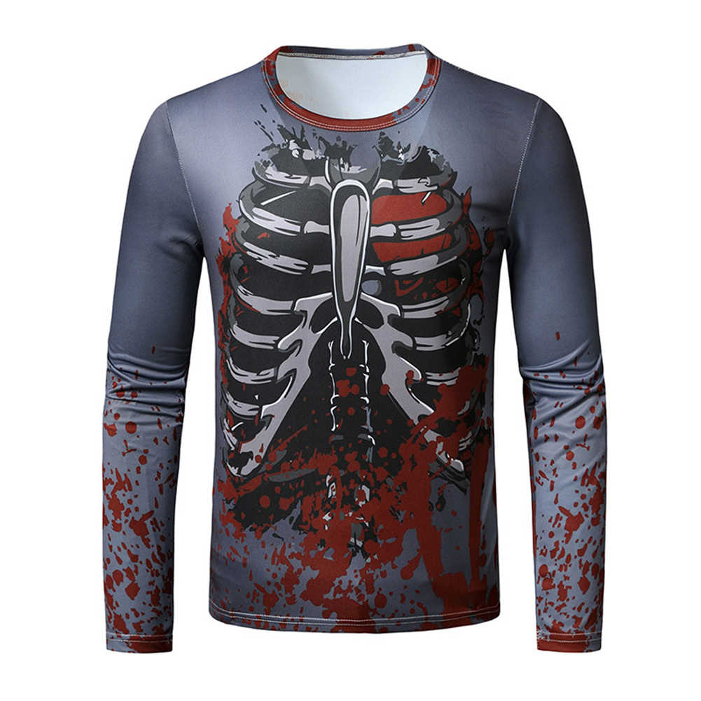 Men Long Sleeved Round Neck Shirt 3d Digital Printing Halloween Series Horror Theme Long Sleeve T-shirt  Grey_XL