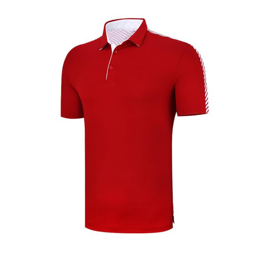 Fast Dry Golf Clothes Summer Male Short Sleeve Short T-shirt Polo Shirt red_L