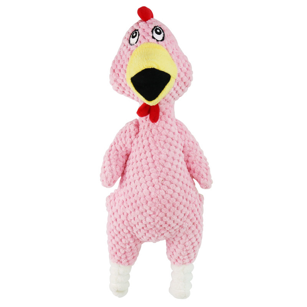 Bite-resistant Pet Squeaky Chew Toy Plush Funny Screaming Chicken Toy for Dogs Pink