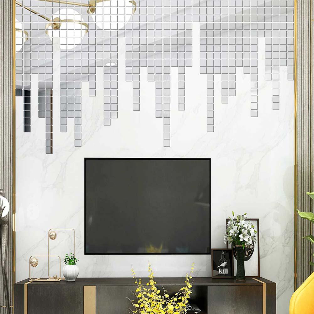 100Pcs/set Acrylic Mirror Wall Sticker Self-adhesive 3D Wallpaper DIY Home Decoration 2*2cm Silver