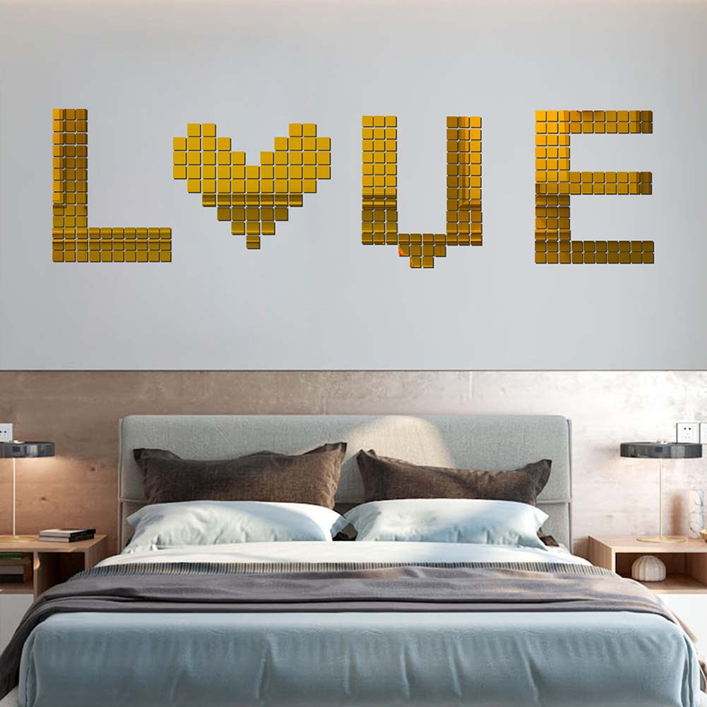100Pcs/set Acrylic Mirror Wall Sticker Self-adhesive 3D Wallpaper DIY Home Decoration 2*2cm Gold
