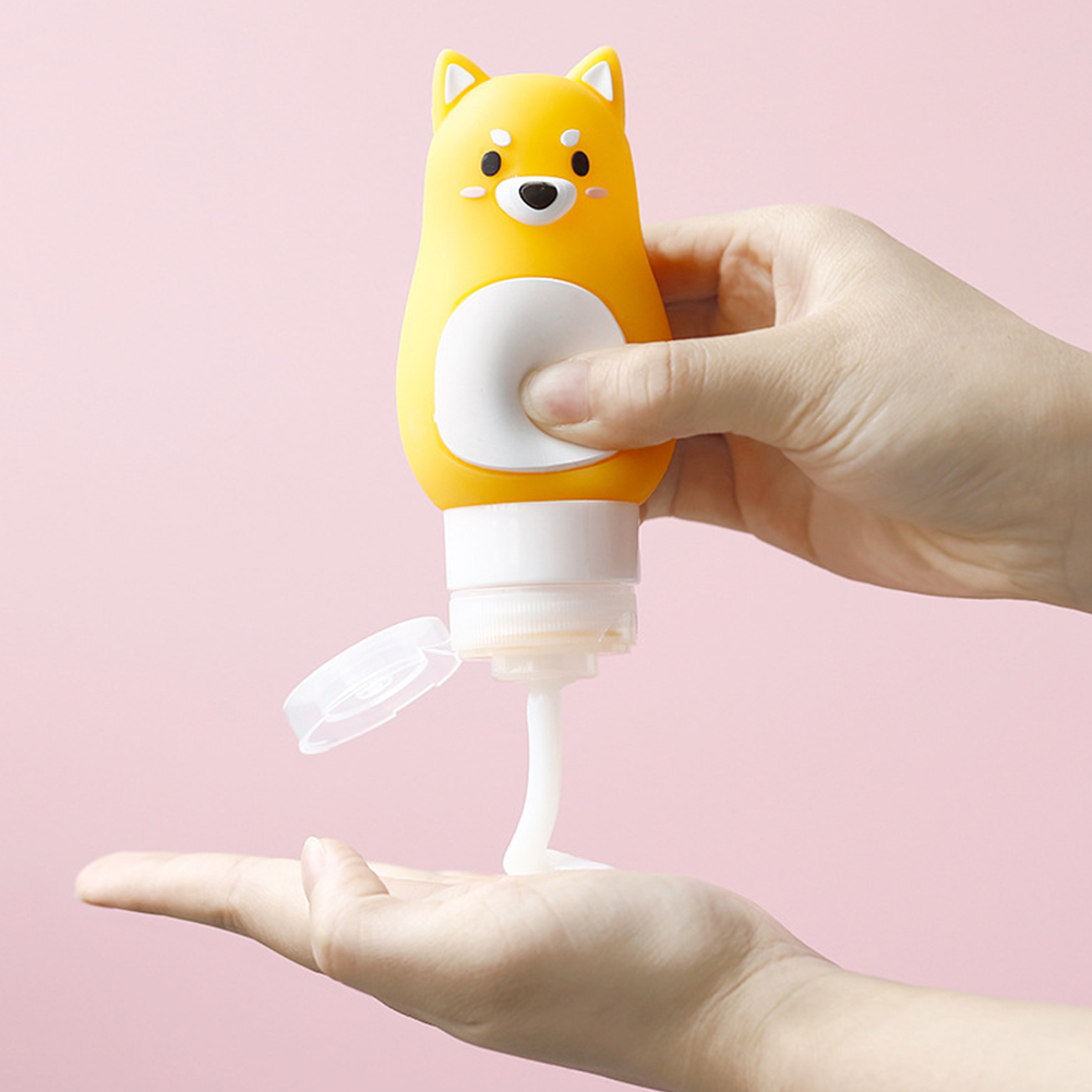 1PC Cute Travel Squeeze Empty Silicone Bottle for Makeup Shampoo Shower Gel Storage 70ml yellow Shiba Inu