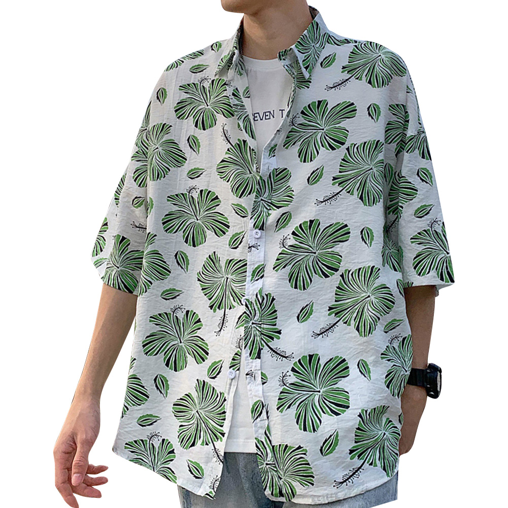 Women Men Leisure Shirt Personality Loose Green Floral Printing Short Sleeve Retro Hawaii Beach Shirt Top Summer C102 #_L