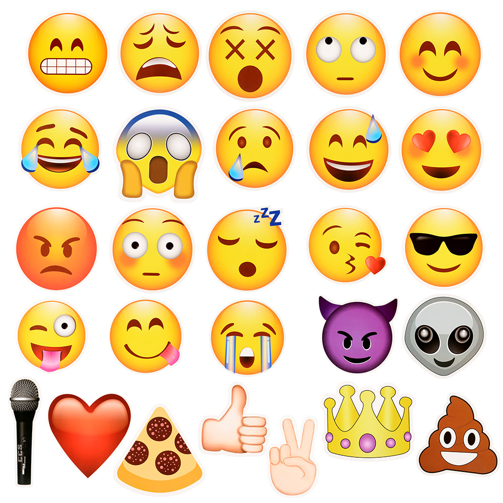 [EU Direct] 27pcs Emoji Photo Booth Props Party Supplies, Birthday Gift Photobooth Decor, Kids Funny Mask for Wedding Favors Holiday Baby Shower
