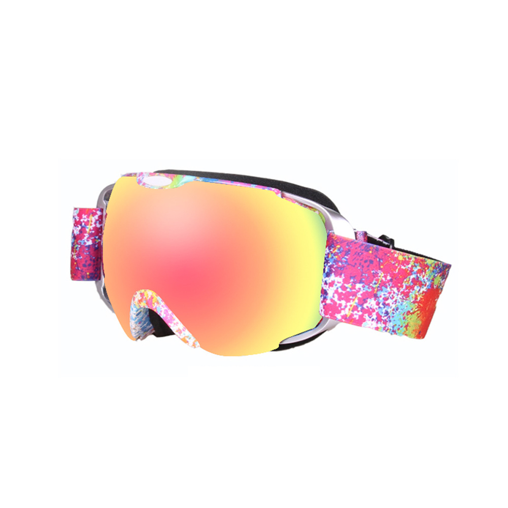 Ski Goggles Double Layer Antifog Large Spherical Snow Sports Snowboard Mountain Climbing Goggles Watermark flower