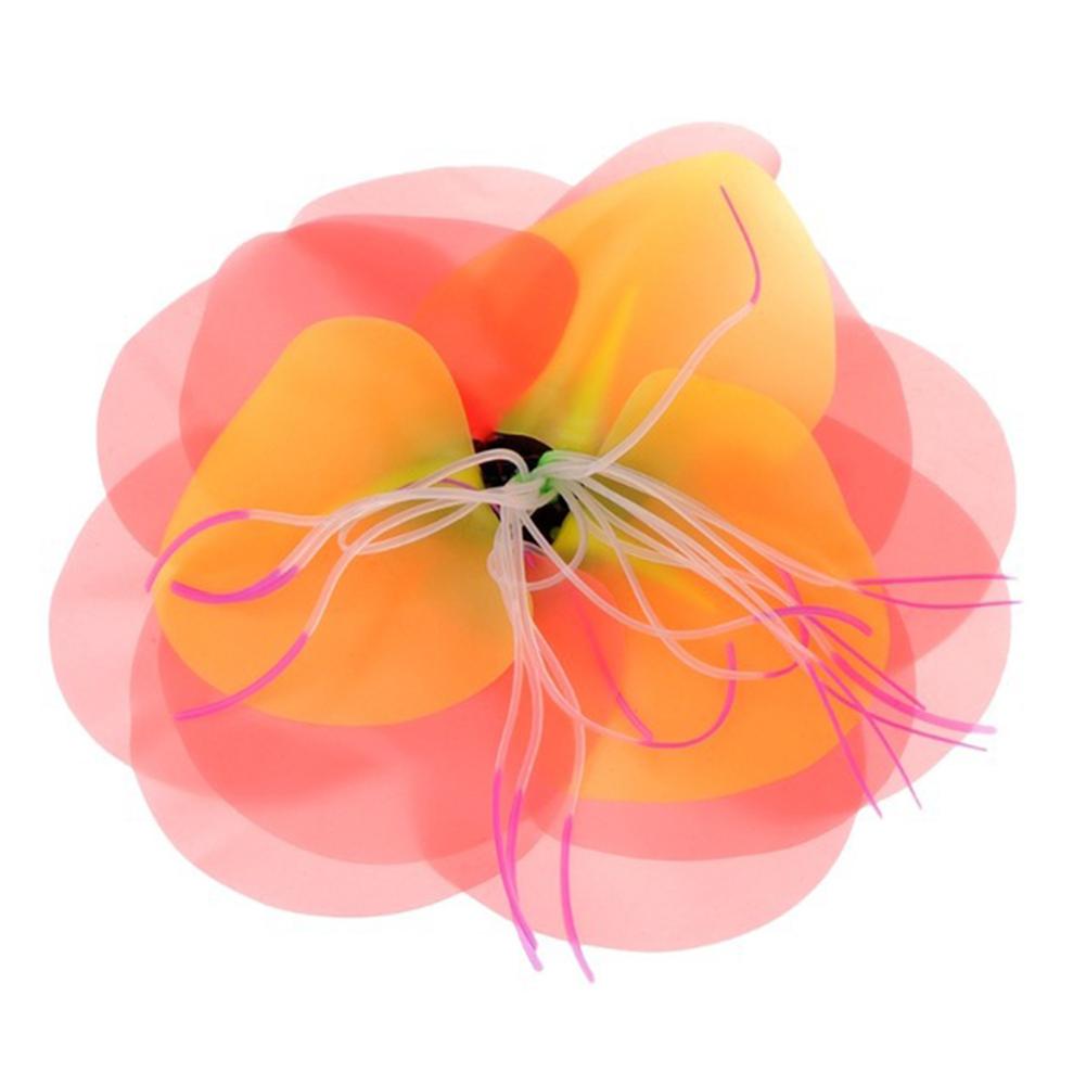 Aquarium Artificial Simulation Soft Silicone Fluorescent Flower Decoration Orange