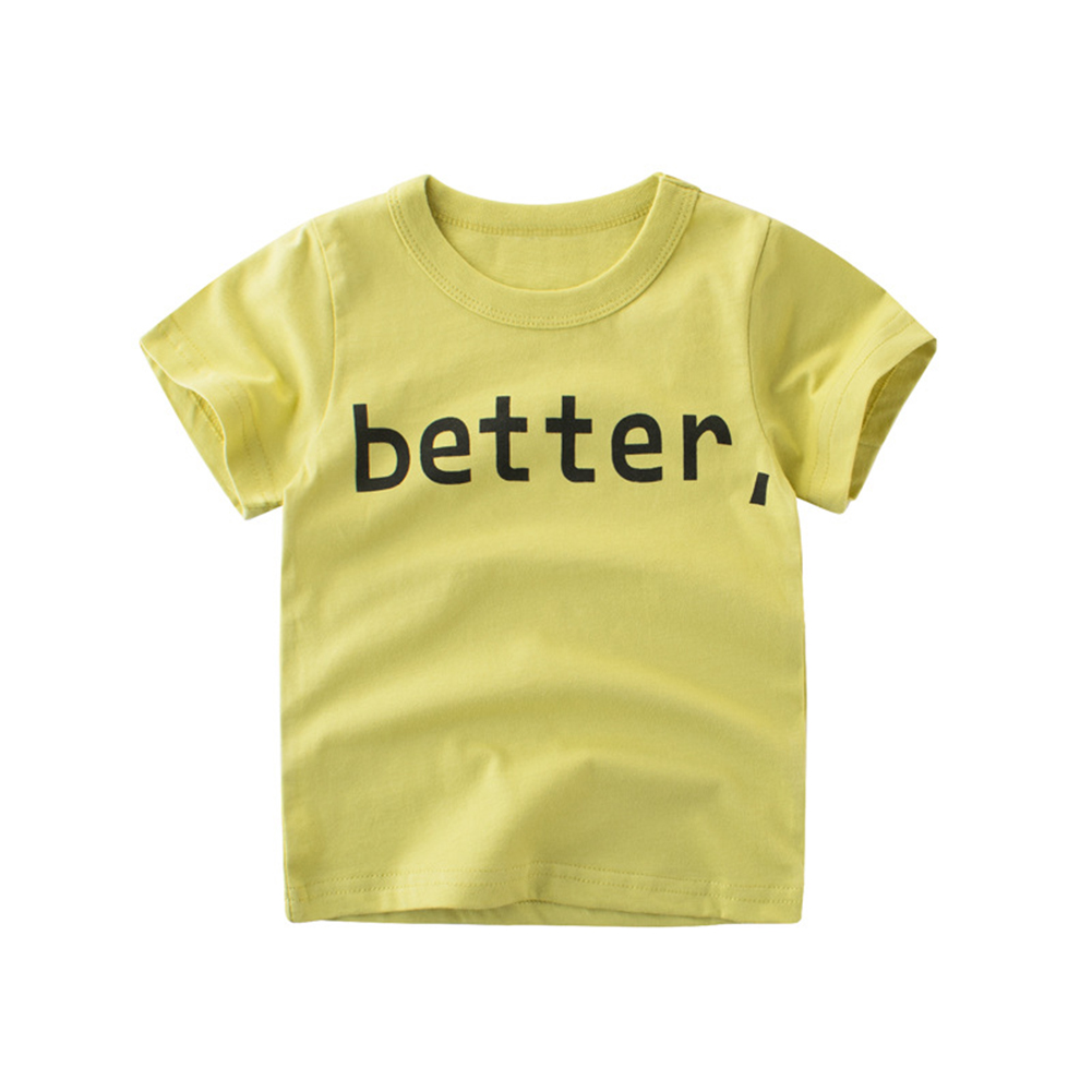 Boy Cotton Short-Sleeve T-Shirt with Cute Letter Printing Birthday Festival Gift