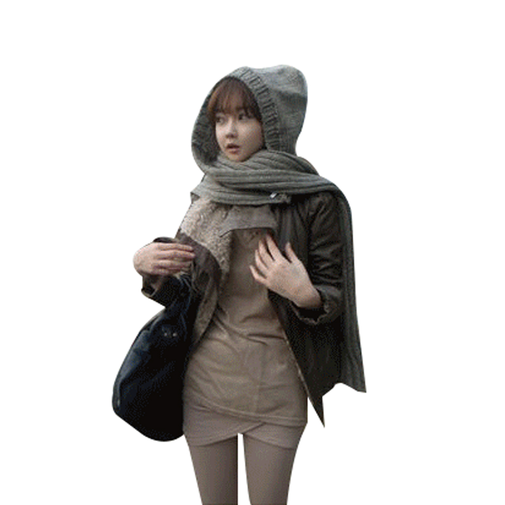 Women Fashion Knitted Scarf Hat Winter Warm Hat With Scarf
