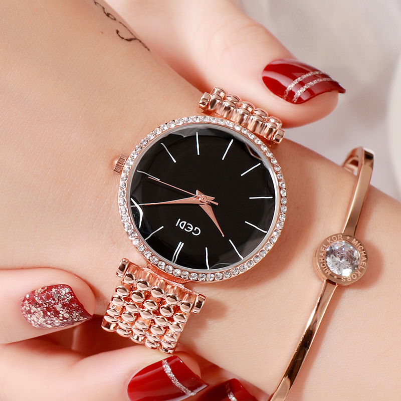 Fashion Women Waterproof Alloy Band Temperament Clock Bracelet Wrist Watch  Rose gold shell black plate