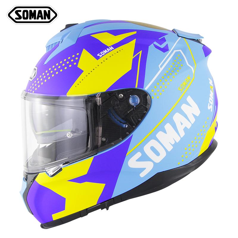 Motorcycle Racing Helmet Men And Women Outdoor Riding Double Lens Full Face Helmet Ece Standard Speed 1-matte blue yellow_XXL