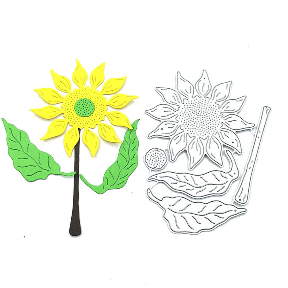 Sunflower Print Carbon Steel Diy Metal Cutting  Die Mold Embossing Mold Template Silver_115*80mm